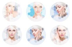 Schönes Gesicht des jungen und gesunden Mädchens in der Collage Plastische Chirurgie, Hautpflege, Kosmetik und Face lifting-Konze stockfoto