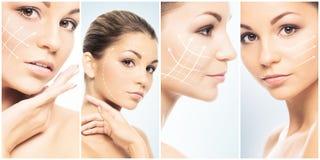 Schönes Gesicht des jungen und gesunden Mädchens in der Collagensammlung Plastische Chirurgie, Hautpflege, Kosmetik und Face lift lizenzfreies stockfoto