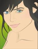 Schönes Gesicht des Mädchens mit blauen Augen Stockfoto