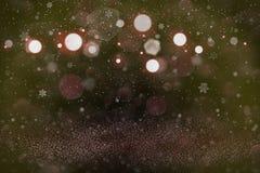 Schönes glänzendes Funkelnlichter defocused bokeh abstrakter Hintergrund mit fallenden Schneeflocken fliegen, festal Modellbescha lizenzfreie abbildung