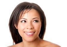 Schönes glückliches Frauengesicht stockbild