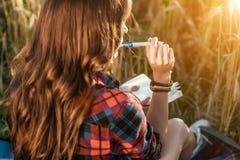 Schönes glückliches Mädchen auf dem Gebiet, sonniger Tageshemd Neue Ideen des Konzeptes, schreibend in Notizbuch Genuss der Natur Stockfotos
