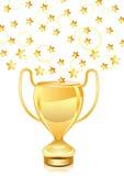 Schönes goldenes Trophäecup mit Sternen Stockfotografie
