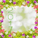 Schönes Grün lässt Rahmen mit Blume und 2017-jähriges gemacht von Stockfotografie