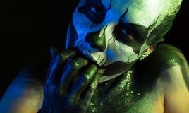 Schönes gruseliges Mädchen mit skeleton Make-up Lizenzfreie Stockbilder