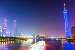 Schönes Guangzhou Pearl River nachts Stockfotografie