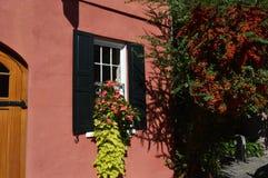 Schönes Haus mit Blumen im Fenster Stockbild