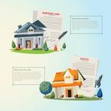 Schönes Haus mit Hypothekenanmeldeformular, Darlehensform agree stock abbildung