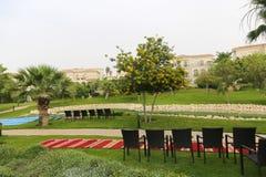 Schönes Haus mit Palmegarten lizenzfreies stockbild