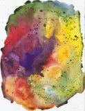 Schönes helles Aquarell des Regenbogens befleckt, abstrakte Aquarellbeschaffenheit stockfoto