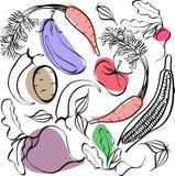 Schönes helles grafisches skandinavisches Muster des organischen Gemüses: Kartoffel, Tomate, Rote-Bete-Wurzel, Schalotte, Aubergi stock abbildung