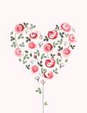 Schönes Herz gemacht von den Rosen Stockbild