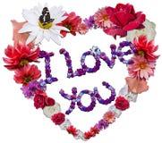 Schönes Herz gemacht von den verschiedenen Blumen als Symbol der Liebe stockfotos