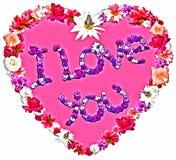 Schönes Herz mit der Legende gemacht von den verschiedenen Blumen lizenzfreie stockbilder