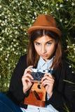Schönes Hippie-Mädchenschießen Lizenzfreies Stockfoto