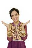 Schönes indisches Damelächeln. Stockfoto
