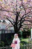 Schönes japanisches Mädchen, das bunten Kimono trägt lizenzfreie stockfotografie