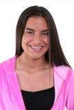 Schönes jugendlich Mädchen im Rosa Lizenzfreies Stockfoto