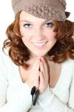 Schönes jugendlich Mädchen mit Auto-Tasten Lizenzfreie Stockfotografie