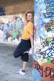 Schönes junges blondes Baumuster. Graffiti Lizenzfreie Stockfotografie