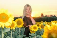 Schönes junges blondes Modell im schwarzen Kleid auf einem Feld von Sonnenblumen Stockfotografie