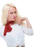 Schönes junges blondes weibliches Denken Stockfoto
