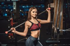 Schönes junges Eignungsmädchen, das mit Sportausrüstung in der Turnhalle betrachtet Kamera aufwirft Aufstellung mit Barbell Lizenzfreie Stockfotografie