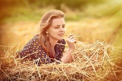 Schönes junges Mädchen auf der Wiese stockbilder
