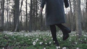 Schönes junges Mädchen, das durch Frühlingswald geht stock footage