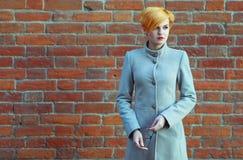 Schönes junges Mädchen in einem Mantel auf der Straße Lizenzfreie Stockfotografie