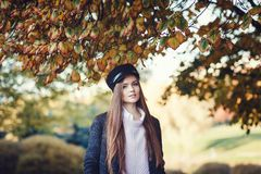 Schönes junges Mädchen im Herbstpark stockfotos