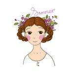 Schönes junges Mädchen mit Borten und Blumen Stockbild