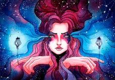 Schönes junges Mädchen mit den glühenden Laternen gebunden auf ihren Fingern, Stockbilder