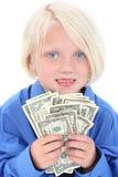 Schönes junges Mädchen mit Handvoll Geld Stockbilder