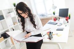 Schönes junges Mädchen steht im Büro und lehnt sich auf Schreibtisch und Rollen durch roten Ordner mit Dokumenten Stockfotos