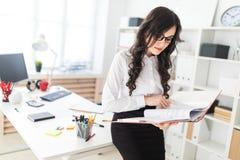 Schönes junges Mädchen steht im Büro und lehnt sich auf Schreibtisch und Rollen durch roten Ordner mit Dokumenten Lizenzfreie Stockbilder