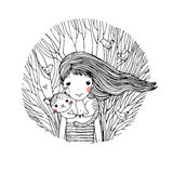Schönes junges Mädchen und eine nette Katze Lizenzfreies Stockbild