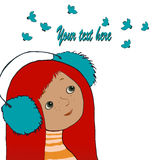 Schönes junges Mädchen und Vogel Gesicht auf weißem Hintergrund Lizenzfreie Stockbilder