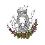 Schönes junges Mädchen, Vögel, Nest, Vögel und Blumen Lizenzfreies Stockfoto