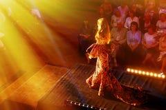 Schönes junges Modell, das hinunter Brücke an der Modeschau mit dem Strahlen von hellen Strahlen geht Modeschau in Slowakei, Ruzo Lizenzfreies Stockbild