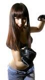 Schönes kämpfendes junges Mädchen Lizenzfreies Stockfoto