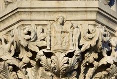 Schönes Kapital des Palastes des Dogen mit religiöser Szene: Schaffung O Lizenzfreie Stockbilder