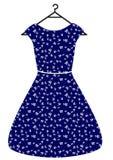 Schönes Kleid der blauen Weinlese mit Weißblättern und -gurt, vector flache Illustration Lokalisiert auf Weiß stock abbildung