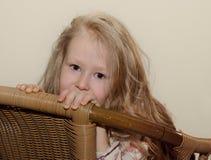 Schönes kleines blondes Mädchen mit dem langen Haar Lizenzfreie Stockbilder