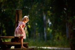 Schönes kleines Mädchen lächelt bei der Stellung auf der kleinen hölzernen hängenden Brücke Lizenzfreies Stockfoto