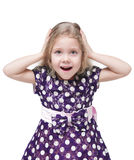 Schönes kleines Mädchen mit dem blonden Haar überrascht lokalisiert Stockfotografie