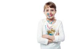 Schönes kleines Mädchen mit Farbe des Gesichtes Stockbild