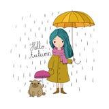 Schönes kleines Mädchen und ein netter Karikatur Pug unter einem Regenschirm Stockfotografie