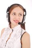Schönes Kundendienst-Betreiberstudentenmädchen mit headse lizenzfreies stockfoto