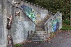 Schönes Kunstwerk auf Wand Stockfoto